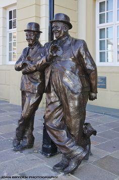 Laurel and Hardy statue by Graham Ibbeson at Ulverston, Cumbria