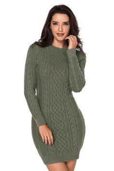 ad45d1842ff Army Green Mini Sweater Dresses
