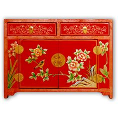 "24"" ShanXi Style Red Lacquer Trunk with Floral Motif Hand Painting"