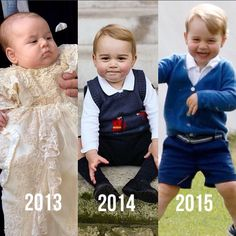 George through the years!!!          His christening::his first official Christmas pics::his second polo game