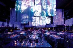 Projections of moving bubbles lit up the opening-night party for the Broadway production of The Little Mermaid in 2008