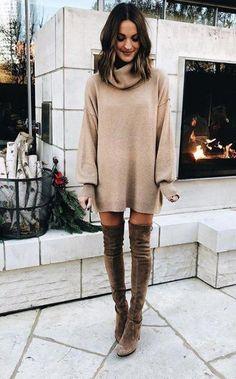 03a0e65a9b45 Cowl neck sweater dress + OTK boots. Fall 2018 Fashion