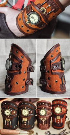 Steampunk leather watch by LullisCraft, Red and Brown genuine leather wristband, Black Steampunk Leather bracelet, Steampunk cosplay cuff for men and women Steampunk Jacket, Steampunk Gears, Steampunk Cosplay, Steampunk Design, Steampunk Fashion, Steampunk Accessoires, Steampunk Crafts, Sword Design, Leather Wristbands