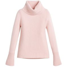 White House Black Market Ribbed Turtleneck Sweater found on Polyvore featuring tops, sweaters, white house black market, pink top, pink turtleneck, petite sweaters and turtleneck sweater