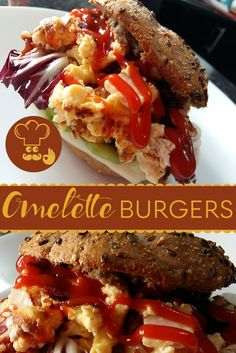 Perfect quick and healthy breakfast recipe! You only need some fresh buns, eggs, cheese and greens. Best thing about these omelette burgers? There are no real rules, you can add in whatever you like. Breakfast Omelette, Dessert Recipes, Desserts, Healthy Breakfast Recipes, Lunches And Dinners, Us Foods, Meatloaf, Burgers, Buns