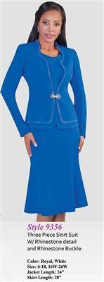"Tally Taylor 9356 Colors: Royal, White Jacket Length: 24"" Skirt Length: 28"" Sizes: 6, 8, 10, 12, 14, 16, 16W, 18, 18W, 20W, 22W, 24W, 26W"