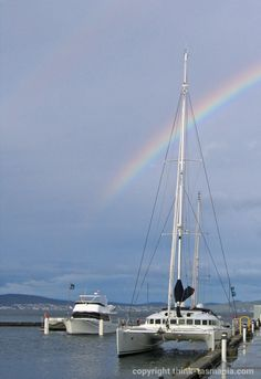 Rainbow over the #Hobart Waterfront. Photo and article for www.think-tasmania.com