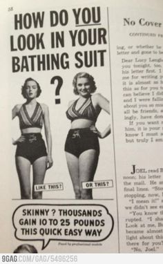 Magazine from the 1950s Such a different perspective on beauty/ looking good.
