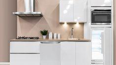 hoogglans keuken met taupe muur  keukenideeen  Pinterest  Taupe ...