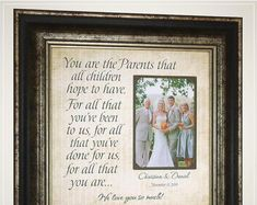 Celebrating the Special Moments in Your LIfe by PhotoFrameOriginals Personalized Parents of the Groom Wedding Gift from Son, Wedding Day Gift for Parents of the Bride from Daughter<br> Thank You Gift For Parents, Wedding Gifts For Parents, Wedding Thank You Gifts, Wedding Gifts For Groom, Personalized Wedding Gifts, Bride Gifts, Groom Gifts, Anniversary Party Decorations, Anniversary Gifts For Parents