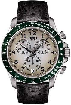 Green-bezel Tissot w/ black leather band, 43-mm case width (12mm deep), water-resistant to 100m