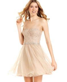 City Studios Juniors Dress, Strapless Lace Tulle
