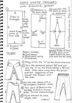 plan to try this soon! Zero waste trousers with gusset pattern these are great. plan to try this soon! Zero waste trousers with gusset pattern Diy Clothing, Sewing Clothes, Clothing Patterns, Sewing Patterns, Shirt Patterns, Dress Patterns, Doll Clothes, Pattern Cutting, Pattern Making