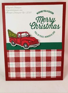 This makes a cute Christmas Card. I used Stampin' Up! Buffalo Check and Farmhouse Christmas Stamp sets. Stamped Christmas Cards, Xmas Cards, Holiday Cards, Buffalo Check, Buffalo Print, Buffalo Plaid, Plaid Christmas, Country Christmas, Christmas 2019