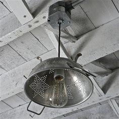repurposed vintage colander light fixture
