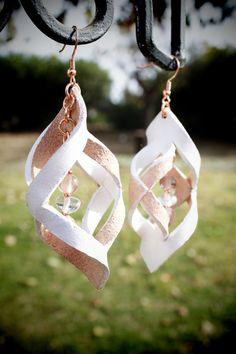 Leather 3d geometric earrings