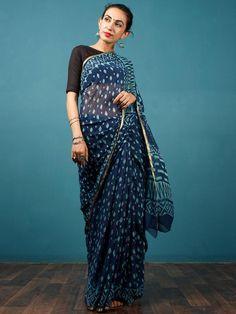 bc091ce6391 Indigo Blue Hand Block Printed Chiffon Saree with Zari Border - S031702805
