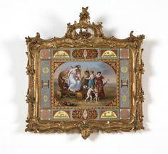 A framed German porcelain plaque : Lot 1141