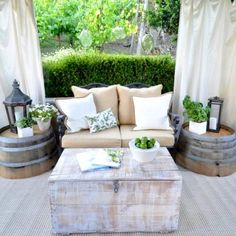 patio...vintage trunk for table and storage