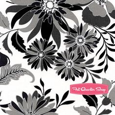 Black, White and Currant 4 White Floral Yardage SKU# 7918-04 Black, White & Currant 4 by Color Principle for Henry Glass Fabrics