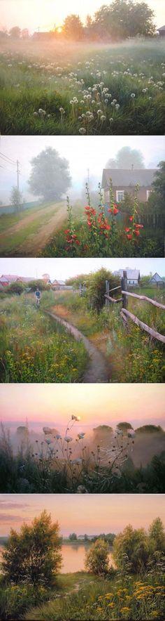 Родная русская деревня, художник Вячеслав Палачев | Современное искус | искусство | Постила