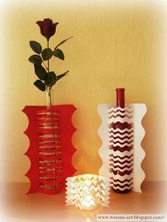 Repurpose bottles into vases with a paper sleeve via wesens-art.blogspot.com