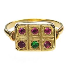 Materials 18k Gold, and Rubies, Emeralds or Sapphires of your choice. Specifics The face measures approx 3/8 inch by 1/2 inch. The ring will be made to your size by the designer.