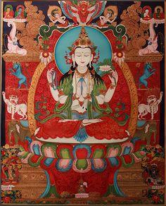 Tibetan Buddhist Thangka of Chenrezig