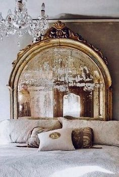Antique mirror headboard with beautiful modern decor (=) Beautiful Mirrors, Beautiful Bedrooms, Mirror Headboard, Headboard Ideas, Headboards, Mirror Mirror, Antique Headboard, Huge Mirror, French Mirror