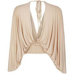 Beige Plunge V-neck Batwing Sleeve Backless Cropped Blouse (€24) ❤ liked on Polyvore featuring tops, blouses, pink top, v neck crop top, plunge crop top, crop top and beige blouse