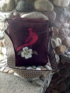 Whether you are a budding ornithologist , seasoned birdwatcher, or nature lover, you will want this messenger bag! I've hand needle felted this proud cardinal on a rich marsala brown felted wool messenger bag. From the Victorian-esque floral cotton lining, to the double pocket and inner zipper, to the fully adjustable basketweave strap, you will love this bag!