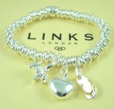 Links of London Bracelet with three charms #designerjewelry