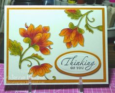 handcrafted card ... Autumn colors of orange and olive ...  from Bloomin' Paper ... luv the colored pencil shading ...