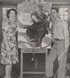 """Mary Doyle Keefe, the """"real life"""" Rosie the Riveter, stands with Norman Rockwell and her Saturday Evening Post cover. Featured on the New York Times. Norman Rockwell Art, Norman Rockwell Paintings, Feminist Icons, Rosie The Riveter, We Can Do It, World War Two, American Artists, Ny Times, Vintage Posters"""