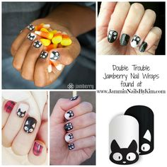 Oh how totally cute are these - are you ready for #Halloween? #DoubleTrouble #Jamberry #NailWraps  #JamberryNails #ManiPedi #Jamicure #Jambicure #Manicure #Pedicure #JamminNailsByKim #NailArt #NOTD #NailArtAddict #NailSwag