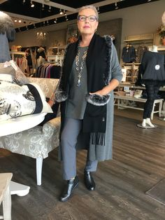 September 2016- Fur trimmed scarf on Eileen Fisher wardrobe essentials