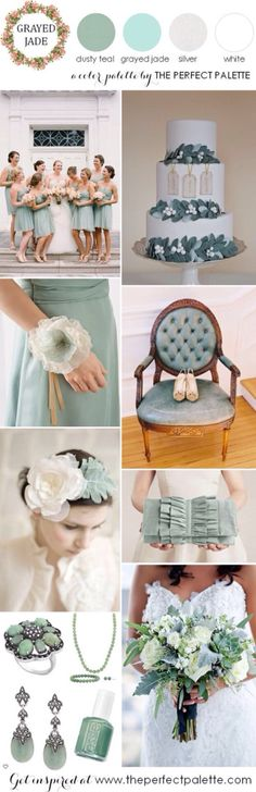 Check out another mood board, with light greys whites and dusty blues, perfect for vintage weddings and sweet weddings