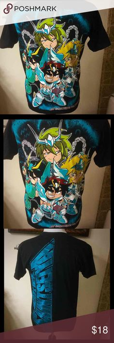 Saint Seiya knights of the zodiac anime t-shirt Rare new saint seiya knights of the zodiac from the anime rare mens medium top t-shirt but can be unisex women's also  Features the saint Seiya characters on the front and on the back it says saint seiya in big   Letters   Size medium no trades or hold or lowballing please respect Tops Tees - Short Sleeve