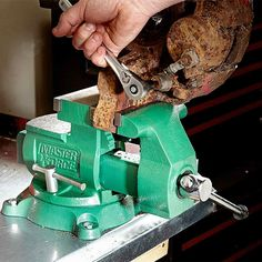 Get a Beefy Bench Vise - 14 Cool Auto Shop Tools You Need: http://www.familyhandyman.com/automotive/car-maintenance/cool-auto-shop-tools-you-need