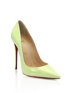 Christian Louboutin - Neon Patent Leather Point-Toe Pumps