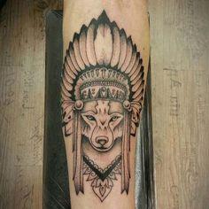 kızılderili kurt dövme modelleri