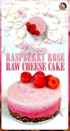 Raw Raspberry Rose Cheese Cake A perfect romantic dessert for two to share on Valentine's day. It keeps days in the freezer and needs only a quick defrost. Vegan Cheesecake, Vegan Cake, Cheesecake Desserts, Ma Baker, Raw Cheese, Raw Desserts, Healthy Desserts, Delicious Desserts, Healthy Food