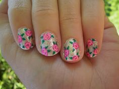 Crazy About Nails: Silver and pink rose nails