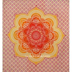 Orange Flower of Life Ombre Medallion Tapestry, Indian Bedspread