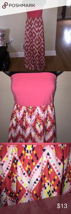 The Perfect Maxi! Never worn. Color mixed between coral and pink. Strapless tie back (see photos). Cute for every summer event! Dresses Maxi