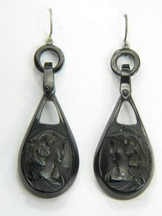 ANTIQUE VICTORIAN ENGLISH SILVER WHITBY JET CAMEO EARRINGS c1870 BACCHANTES
