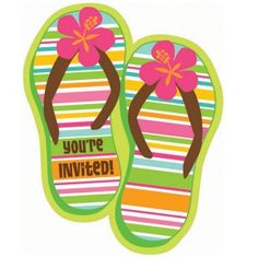 9763575fdb03 Luau Party Supplies  Flip Flop Invites 50 Pk Kids Birthday Party  Invitations