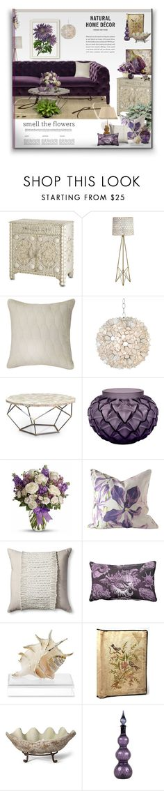"""""""Flowers & Sea Shells"""" by signaturenails-dstanley ❤ liked on Polyvore featuring interior, interiors, interior design, home, home decor, interior decorating, Shell Rummel, Worlds Away, Palecek and Lalique"""