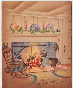 Vintage Greeting Card Christmas 1940s Interior Fireplace Hearth 1940s e262