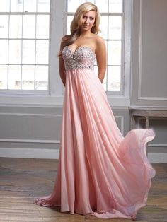 2014+New+Style+A-line+Sweetheart+Chiffon+Pearl+Pink+Plus+Size+Prom+Dresses/Evening+Dress+With+Beading+#FC484